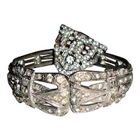 Art Deco Clamper Bracelet Paste Stones Wedding