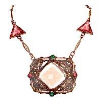Art Deco Geometric Necklace Pink Czech Glass