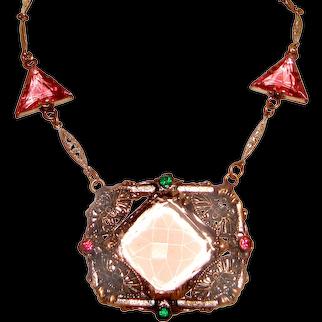Art Deco Geometric Pink Czech Glass Necklace