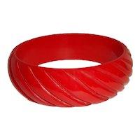 Art Deco Carved Red Bakelite Bangle Bracelet