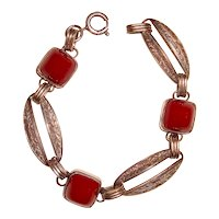 Art Deco Bracelet Red Stones Etched Silver Links