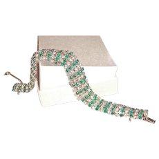 Art Deco Green Clear Rhinestone Bracelet