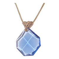Art Deco Geometric Pendant Blue Octagon