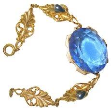 Art Nouveau Bracelet Sapphire Blue Glass Center