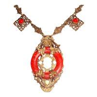 Art Nouveau Necklace Red Coral Art Glass Shamrocks