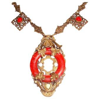 Art Nouveau Necklace Filigree Red Coral Art Glass Shamrocks