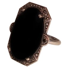 Art Deco Black Onyx Ring Sterling Silver Marcasites