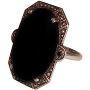 Art Deco Ring Sterling Silver Black Onyx Marcasites