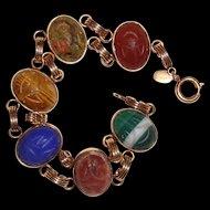 Scarab Bracelet Natural Gemstones 12K Gold Filled
