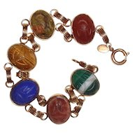 Scarab Bracelet Natural Gemstones Gold Filled