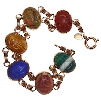 Scarab Bracelet Natural Gemstones