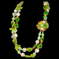 1950 Beaded Necklace Multicolored Bows Florets Green