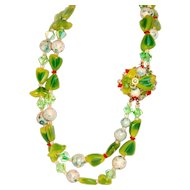 1950 Beaded Necklace Multicolored Summer