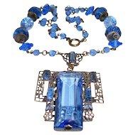 Antique Czech Necklace Large Blue Crystal Filigree Drop