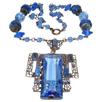 Antique Czech Necklace Large Blue Drop