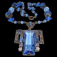Art Deco Czech Necklace Large Blue Crystal Filigree Drop