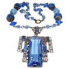 Art Deco Czech Necklace Large Blue Crystal Filigree Drop