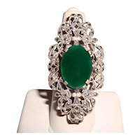 Antique Chrysoprase Ring Sterling Silver Marcasite