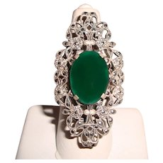 Antique Sterling Silver Marcasite Chrysoprase Ring