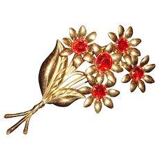 Big Red Flower Brooch C Clasp
