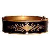 Black Enamel Hinged Bangle Bracelet Initial P