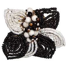 Early Haskell Hand Wired Dress Clip Black White Beads