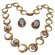 Symmetalic Moonstone Glass Necklace Earrings Sterling 14K GF WRE