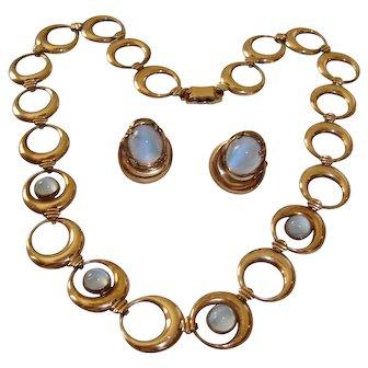 Symmetalic Blue Moonstone Glass Necklace Earrings Sterling Silver 14K GF