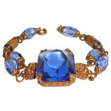 Blue Art Deco Czech Bracelet Crystal Center