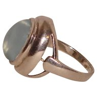 Blue Cats Eye Sterling Silver Ring Male Female