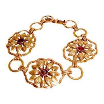 Wide Gold Filled Floral Link Bracelet Color Change