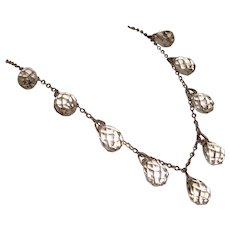 SOLD Cut Crystal Briolette Drops Necklace