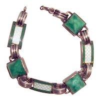 Art Deco Bracelet Peking Glass Guilloche Enamel