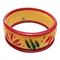 Carved Painted Bakelite Bangle Bracelets