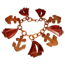 Art Deco Bracelet Carved Wood Anchors Ships on Celluloid Chain