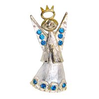 Crowned Christmas Angel Pin Silver Blue