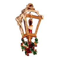 Christmas Lantern Brooch Enamel Rhinestones