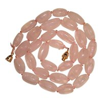 Rose Quartz Necklace Hand Knotted Chunky Beads