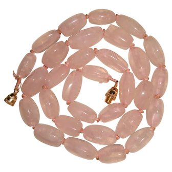 Rose Quartz Necklace Hand Knotted Chunky Beads 22 inches