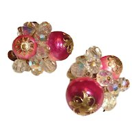 1950s Chunky Vendome Earrings Pink