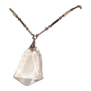 Antique Enamel Chain Crystal Bell Drop Necklace