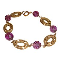 Art Deco Czech Bracelet Filigree Ovals Purple Glass Beads