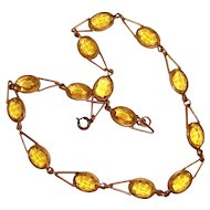 Art Deco Collar Necklace Yellow Glass Stones