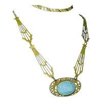 Art Nouveau Necklace Blue Slag Glass Celestial Design Wedding