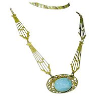 Art Nouveau Necklace Blue Slag Glass Celestial Design Wedding