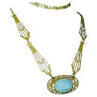 Art Nouveau Czech Necklace Stars Comets Dreamy Blue Glass Center Czechoslovakia