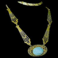 Art Nouveau Czech Necklace Stars Comets Dreamy Blue Glass Center Czechoslovakia