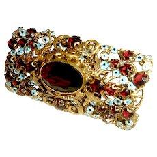 Art Deco Czech Brooch Garnet Glass Enamel Neiger