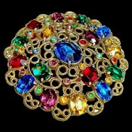 Art Deco Brooch Czech Glass Open Back Stones