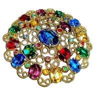 Art Deco Brooch Czech Glass Open Back Stones